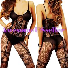 Black XS-5XL Sexy Fishnet Body Stocking Lingerie Adult Erotic Love Sex Toys#434
