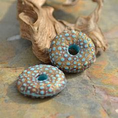 Handmade Polymer Clay Turquoise and Gold Puffy Urchin donuts (1 pair) on etsy