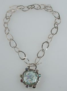 Roman glass jewelry #necklace 232 USD http://www.bluenoemi-jewelry.com/product-overview-text.html