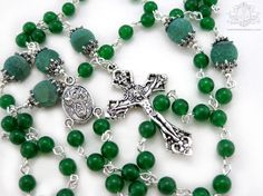 St Patricks Rosary 5 decade Rosary necklace by OohlalaBeadtique, $32.00 #rosary…