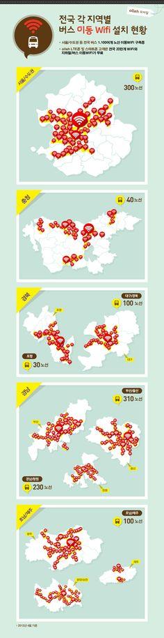 [스마트 인포그래픽] 04. 전국 각 지역별 버스 이동 wifi 설치 현황 kt olleh mobile Infographics. You can use olleh Wi-Fi in the running bus all over the cities in Korea. Seoul, Chungcheong-do, Gyeongsangbuk-do, Gyeongsangnam-do, Honam area and Jeju Island.