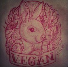 love this vegan tattoo idea! Bunny Tattoos, Rabbit Tattoos, Animal Tattoos, Time Tattoos, Cool Tattoos, Tatoos, Design Tattoo, Tattoo Designs, Vegan Tattoo