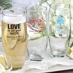 9 ounce clear glass stemless champagne flutes personalized with choice of wedding design and up to 3 lines of custom print are wedding souvenirs you can use during your wedding reception. Made in the USA