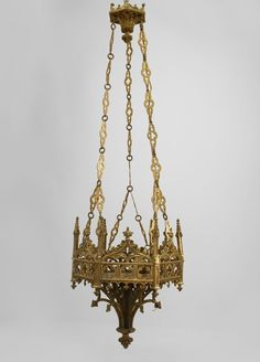 English Gothic lighting sanctuary fixture bronze dore