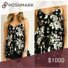 Floral Printed Top-Black Floral Printed ruffled spaghetti strap v-neck A-line top featuring back strap tie. Non sheer. Unlined. Woven. Lightweight.  Fabric: 100% Rayon Tops Tank Tops