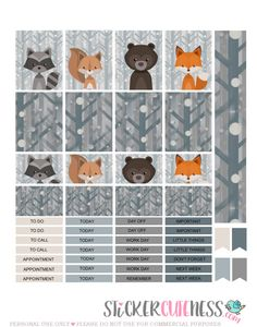 Free Printable Forest Life Planner Stickers from StickerCuteness