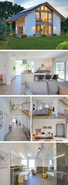 Satteldach-Haus mit Fachwerkelementen - Kampa Musterhaus Erfurt - HausbauDirekt.de