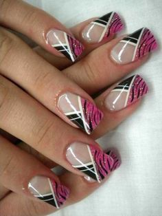 Pink Asymmetrical French Nails art