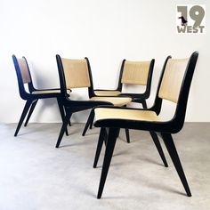 Set of 4 Domus lounge chairs by Hans Bellmann for Domus Schwaikheim, Dining Chairs, Wood Chairs, Lounge Chairs, Midcentury Modern, Vintage Designs, 1950s, Interior, Four, Furniture