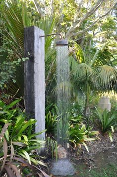 Hot and cold running shower...in the garden! Perfect kiwi life at the Church House bach, Waiheke Island, NZ
