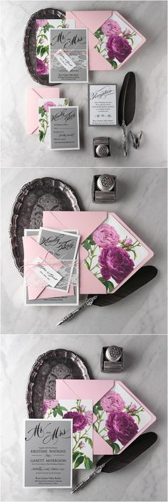 Rustic pink and grey lace wedding invitations @4LOVEPolkaDots