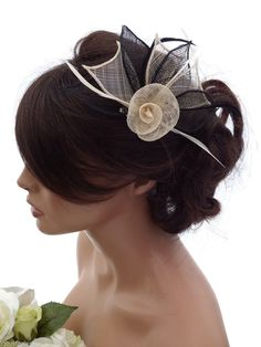 Elegant Mesh Net Cream & Black Flower Hair Clip Grip Fascinator with Feathers