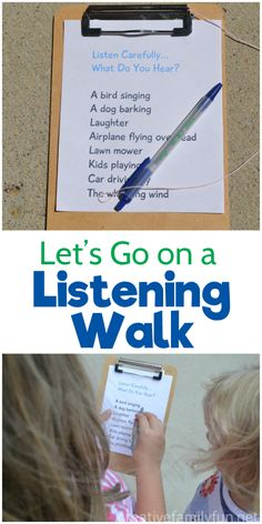 Let's Go On a Listening Walk – Creative Family Fun Listen carefully, what do you hear? Go on a fun listening walk and use your ears to find everything on this printable scavenger hunt for kids. Outdoor Activities For Kids, Nature Activities, Outdoor Learning, Summer Activities, Learning Activities, Preschool Activities, Kids Learning, Outdoor Games, Backyard Games