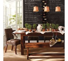 Chalkboard wall would be great in breakfast room for menus, lists......Dining Room Chalkboard Wall - Run To Radiance