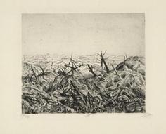 Bei Langemarck (Februar 1918) (à Langemarck (février 1918)), 1924, eau-forte et pointe sèche, 24,4 x 29,9 cm.