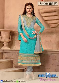 Light Blue & Gray Salwar Kameez, TOP:Fabric Rasal net 2 mtr, INNER:Fabric American 2 mtr, BOTTOM:Fabric Santoon 2.25 mtr, DUPATTA:Fabric Nazneen 2.25 mtr.   Visit: http://surateshop.com/product-details.php?cid=2_27_44&pid=11832&mid=0