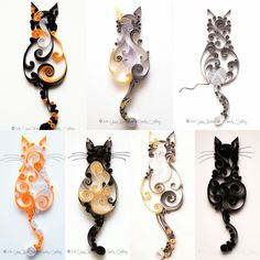 Quilled Scrollwork Cat Series | Mainely Quilling - Christmas Gift Idea for the Kitty lover.