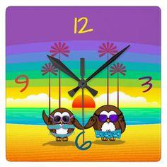 #funny #wallclocks - #owls are back to vacations! square wall clock