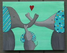 Original Elephant Painting on a 16 x 20 inch Canvas by melbean