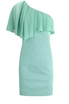 One shoulder fitted dress in an asymmetric shape and statement ruffle adorning the front and rear.