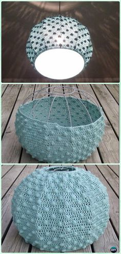 Crochet Lamp Shade Free Pattern Instructions - Home Accessories Diy Crochet Diy, Lampe Crochet, Crochet Bobble, Crochet Lampshade, Crochet Home Decor, Crochet Crafts, Crochet Designs, Crochet Patterns, Crochet Stitches