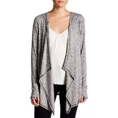 Cable & Gauge Ribbed Melange Drape Cardigan featuring polyvore women's fashion clothing tops cardigans drape cardigan long sleeve cardigan rayon cardigan hooded top open front cardigan