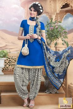 #Manjaree Cream Blue, #Cotton, #Patiala Punjabi, #Printed Dress, #Classic, #Casual, #Formal, #New Collection, #Indian Fashion, #Printed work, #Special occasion.