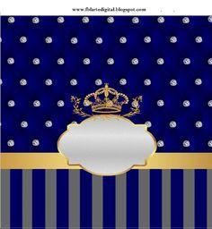 kit festa infantil totalmente grátis o tema realeza com as cores azul marinho e cinza   O Kit festa infantil é  Realeza  com as cores, azul... Prince Party, Baby Prince, Royal Prince, Prince Birthday Theme, Art Birthday, Invitation Background, Party Kit, Baby Feet, Photo Backgrounds