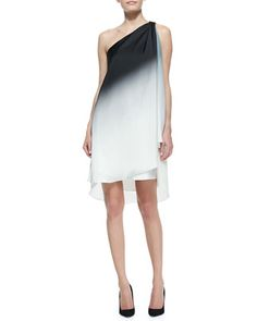 Ombre Draped One-Shoulder Dress by Halston Heritage at Bergdorf Goodman.