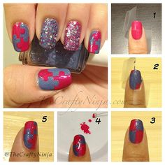 Red Purple Style Nail Art Tutorial