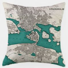 """Made-to-order, 18""""x18"""" map pillow cover (pictured: Stockholm) $44"""