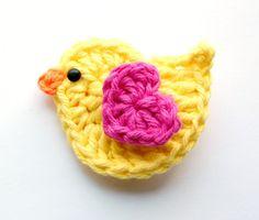 Bright Yellow & Hot Pink Crochet Bird Hair Clip $4.50