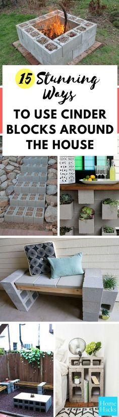 These cinder block ideas are a DIY enthusiast's dream! From home decor to gardening - cinder blocks are useful all over your house!  #diy #cinderblocks #projects #homedecor #homedecorations #interiordesign