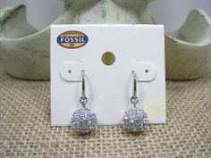 Fossil Brand Star Night Crystal Pave Sphere Silver Dangle Earrings NWT MSRP $58...Only $34.99 with free shipping!