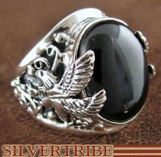 Black Jade and Sterling Silver Eagle Ring from SilverTribe.com