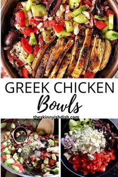 One of the most flavorful meal prep recipes around are these easy and healthy Greek Chicken Bowls. Delicious warm chicken dressed with the greek tastes we all love; olives, cucumbers, olive oil, feta and more. You'll love this fresh and delicious meal! #greek #chickenbowls #ww Healthy Dinner Recipes, Cooking Recipes, Ww Recipes, Supper Recipes, What's Cooking, Cooking Ideas, Lunch Recipes, Healthy Meals, Easy Mediterranean Diet Recipes