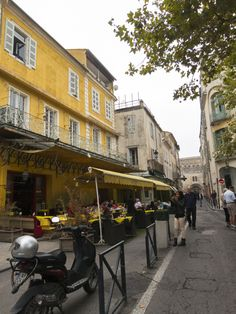 This cafe in Arles France is recognizable from the famous Van Gogh painting 'Cafe Terrace at Night'.