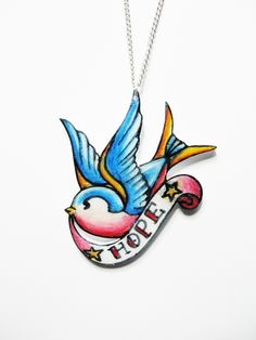 Swallow bird of Hope tattoo necklace  Folksy