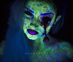 Here's the 'yellow' neon zombae in full black light! oOooOoo aAAhhHh. Looks green, doe. Anyway, I'm currently in the car on my way to Colorado! To follow along with random little moments of the adventure you can find it on snapchat (GlamNgore)! ⠀ ⠀ Products: Kryolan uv activated aquapaints  @flutterlashesinc Paige (even on the fluffed up eyeball) @camoeyes.com_ white mesh contacts... Well.. Contact & of course some FX basics like latex cotton, tissue paper, and scab blood