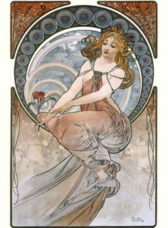 Alphonse Mucha is one of my favorite artists-- He was a Czech artist and part of the Art Nouveau movement around the turn of the century.