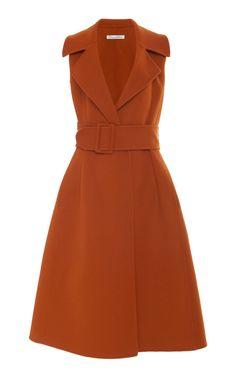 Shop Belted Wool And Cashmere Midi Wrap Dress . Oscar de la Renta's midi dress has an ultra-feminine A-line shape that recalls vintage styles from the Silk Midi Dress, Wool Dress, Look Fashion, Womens Fashion, Fashion Design, Cheap Fashion, Fall Fashion, Fashion Trends, Jw Moda