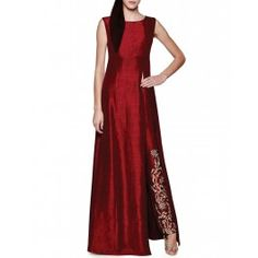 Crimson Red Kurta Set with Embroidered Pants