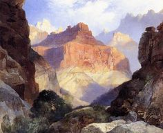 Thomas Moran,   paintings of Under the Red Wall ,  Grand Canyon of Arizona by