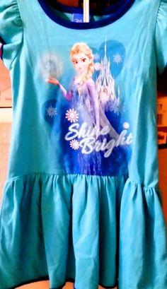 NEW DISNEY FROZEN ELSA COTTON KNIT DRESS TURQUOISE SIZE 3T #DISNEY #CasualParty