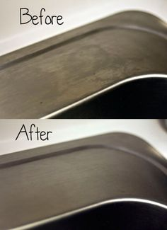 This is so stupidly simple and effective, you'll wonder why you ever bothered with a stainless steel polishing agent ever before this day.  All you do is:  Clean your sink (or stainless steel whatever) as you normally do, making sure to get off all chunks of crud or other sink-like dirtiness. Let it dry completely.  Then, just sprinkle flour all over the inside (1/4 c. was more than enough for both sides of my sink and the tops) and rub it down with a cloth of some sort.