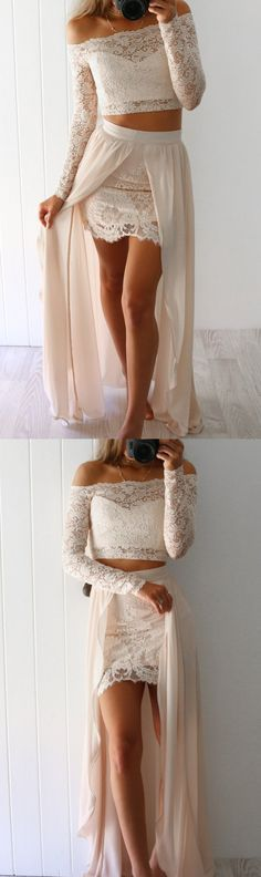 two piece long sleeves prom dress, 2017 lace long prom dress with slit, boho prom dress