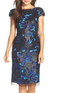 The perfect party dress for holiday cocktail parties! Love this Vera Wang sequined sheath dress. Elegant and flattering with cap sleeves.