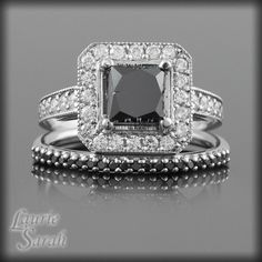 Black Diamond Engagement  Ring with White by LaurieSarahDesigns, $3195.00