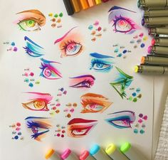 "Drawings Ideas drawingden: "" Colourful Copic Eye Practice by Clareesi "" - Copic Marker Art, Marker Kunst, Copic Art, Copic Sketch, Love Drawings, Art Drawings, Copic Drawings, Art Tutorials, Drawing Tutorials"
