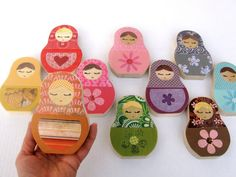 YOU CHOOSE any FOUR Matryoshka Wooden Doll Art  by MapleShadeKids, $56.00